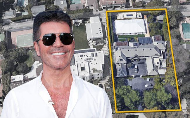 Simon Cowell and the home (Credit: Tibrina Hobson/WireImage via Getty Images, and Google Maps)
