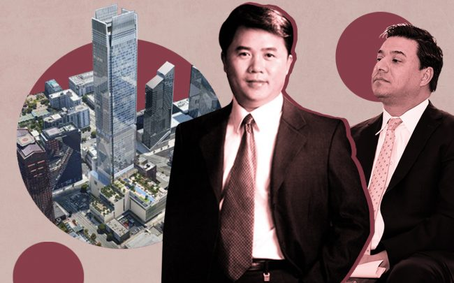 Wei Huang, Jose Huizar and a rendering of the 77-story tower at 333 S. Figueroa Street (Shenzhen New World Group, Getty)