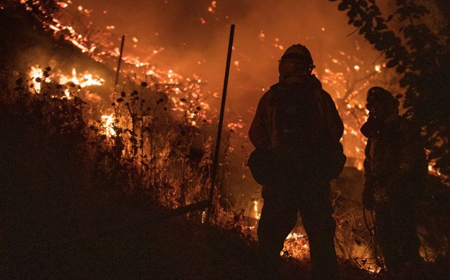 Firefighters monitoring California wildfire (Credit: Anda Chu/MediaNews Group/East Bay Times via Getty Images)