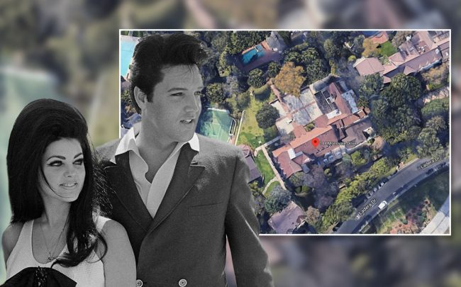Elvis and Priscilla Presley with the home (Credit;  Bettmann/Getty Images)
