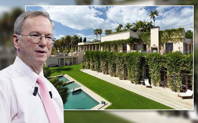 Former Google CEO Eric Schmidt and the exterior of the house (Credit: Christophe Morin/IP3/Getty Images, and JIM BARTSCH via The Wall Street Journal)
