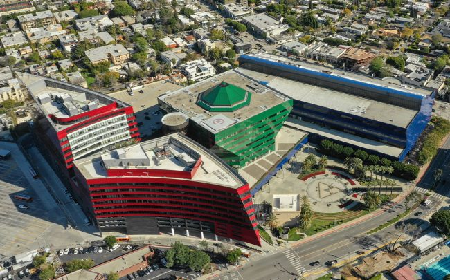 Aerial photo of the Pacific Design Center (Credit: felixmizioznikov/iStock)