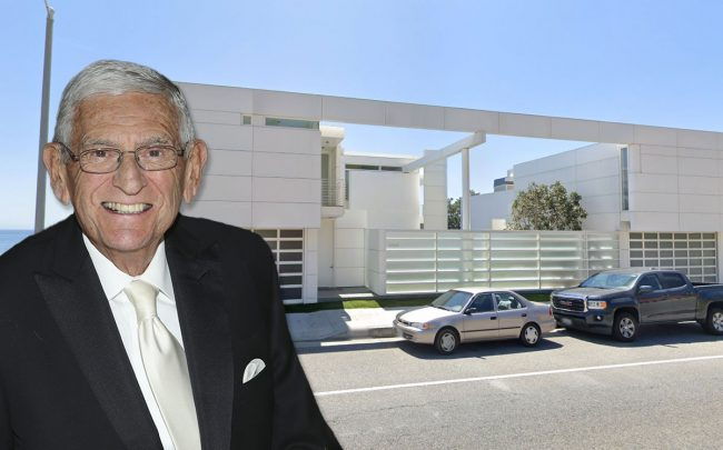 Eli Broad and the house (Credit:: Mathew Imaging/WireImage via Getty Images, and Google Maps)
