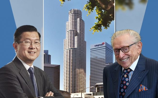 OUE Limited executive chairman and CEO Stephen Riady and Silverstein Properties' Larry Silverstein, with US Bank Tower at 633 West Fifth Street (Credit: Spencer Platt/Getty Images, and Wikipedia)