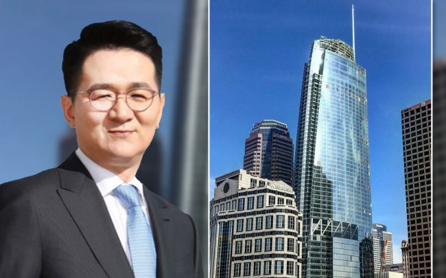 Korean Air chairman and CEO Walter Cho Won-tae and the Wilshire Grand Center at 900 Wilshire Boulevard (Credit: Jae Joon Lee via Wikipedia and Fredchang931124 via Wikipedia)