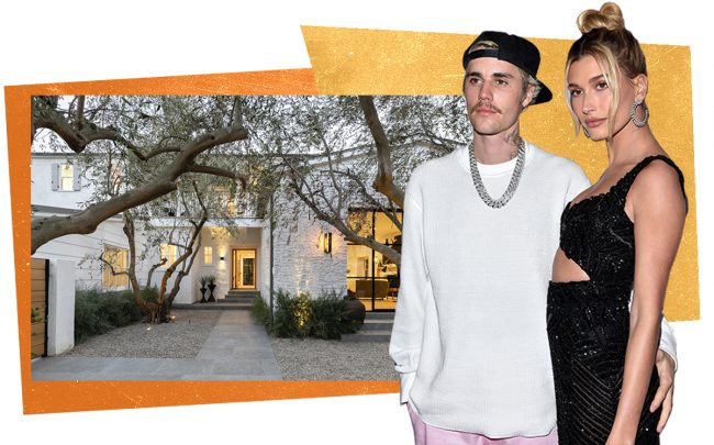 Justin Bieber and Hailey Baldwin with 1710 Tropical Avenue (Getty, Redfin)