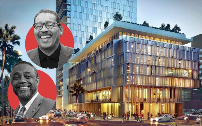 Herb Wesson (top) and Curren Price with a rendering of 3800 W 6th Street (Linkedin, Twitter, Large Arch)