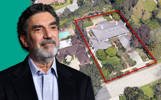 Chuck Lorre and the home (Credit:  Emma McIntyre/Getty Images, and Google Maps)
