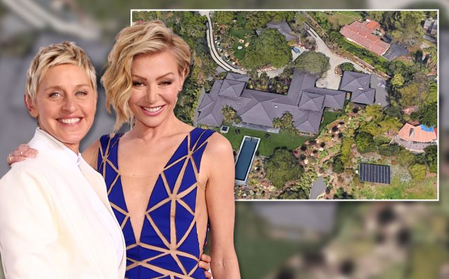 Ellen DeGeneres and Portia (Credit:  Christopher Polk/Getty Images, and Google Maps)