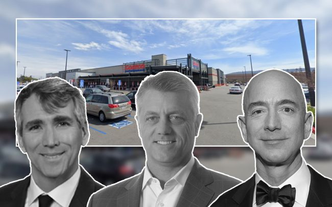 Robert Fordi, Steve Poulos, and Jeff Bezos, with the property (Credit: Google Maps and Emma McIntyre/Getty Images)