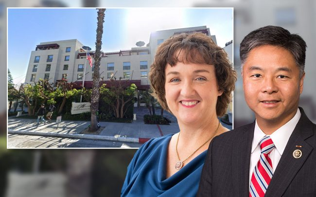 Representatives Ted Lieu (D-Torrance) and Katie Porter (D-Irvine), with the hotel (Credit: Google Maps)