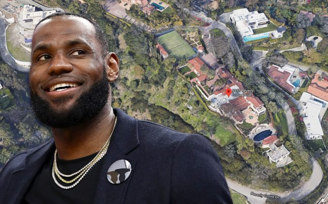 LeBron James and the home at 9955 Beverly Grove Dr. (Credit: Ezra Shaw/Getty Images, and Google Maps)