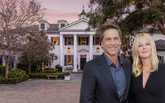 Rob Lowe and wife Sheryl Berkoff, with the home (Credit: Gregg DeGuire/WireImage via Getty Images, and Compass/The Agency)