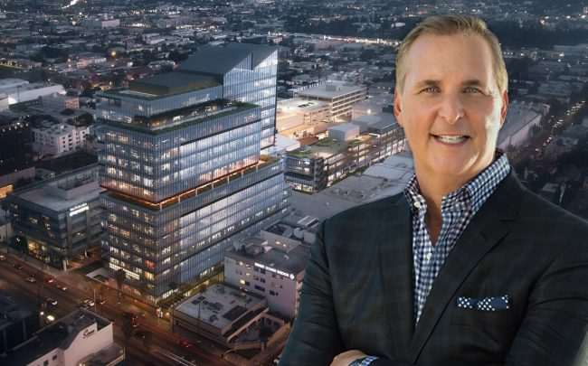 Victor Coleman and a rendering of the project (Credit: Gensler via Urbanize)