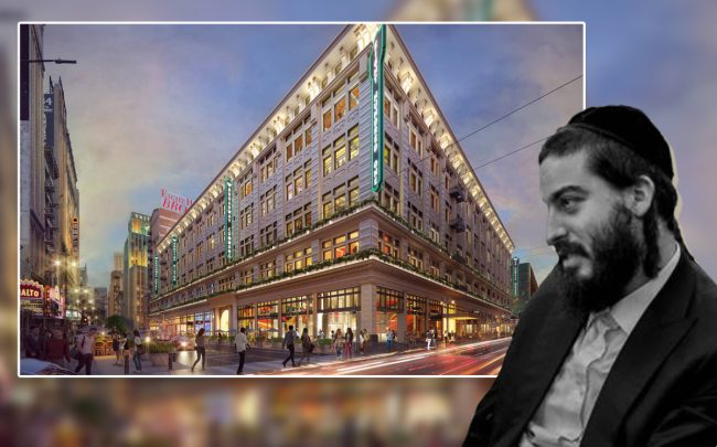 Joel Schreiber and a rendering of proposed redevelopment