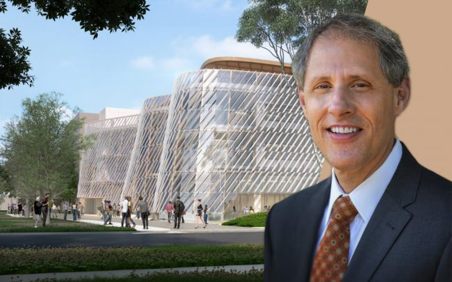 Thomas F. Rosenbaum, Caltech President, and a rendering of the project