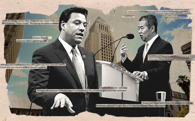 Jose Huizar and Raymond Chan (Getty, U.S. Department of Justice)