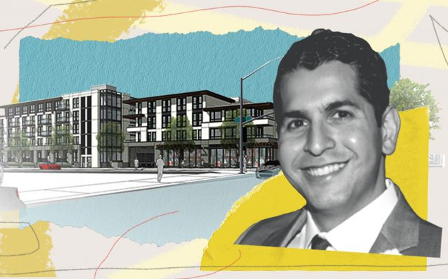Daniel Taban and a rendering of the project (City of Pasadena)
