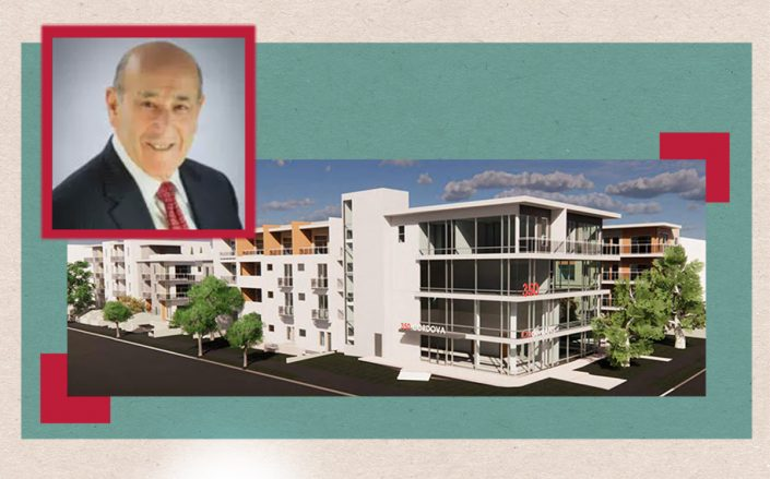 Rendering of the project and Regency Park President Emil Fish (City of Pasadena)
