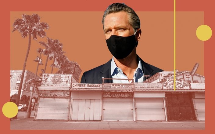 Gov. Gavin Newsom extended stay-at-home orders across most of the state, maintaining A ban on outdoor dining and strict limits on in-store capacity. (Getty)