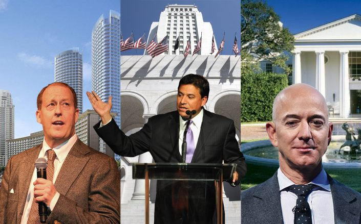 From left, Michael Rosenfeld and Century Plaza, Jose Huizar and City Hall, Jeff Bezos and 1801 Angelo Drive