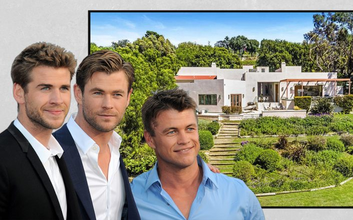 Liam, Chris and Luke Hemsworth with their Malibu home (Getty, Zillow)