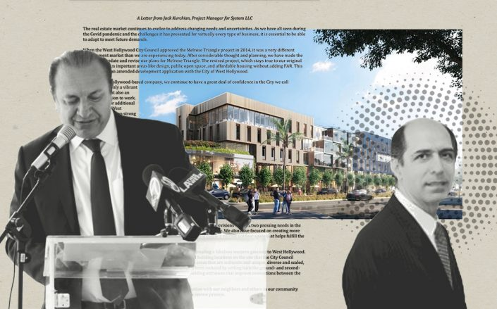 Charles Company's Arman and Mark Gabay with a rendering of Melrose Triangle project and a letter from project manager Jack Kurchian (Arman Gabay, Melrose Triangle)