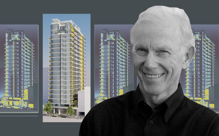 David Lawrence Gray and a rendering of the 120-unit tower (David Lawrence Gray Architects, University of Washington)