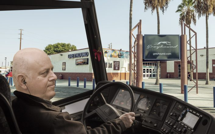 Photo illustration of  Prologis CEO Hamid Moghadam in front of the Greyhound station at 1716 E 7th St. (Getty)
