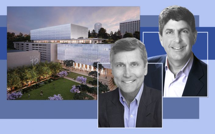 NBCUniversal Chairman Steve Burke and CEO Jeff Shell with a rendering of the office project (NBCUniversal)