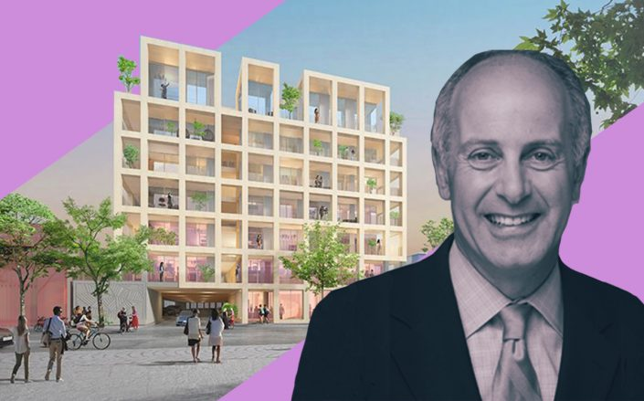 Actors Fund CEO Joseph Benincasa and a rendering of the project