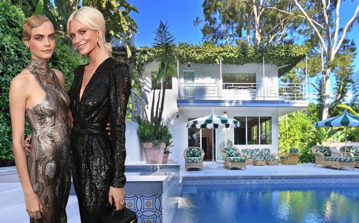 Cara and Poppy Delevingne and the Studio City home (Getty, Redfin)
