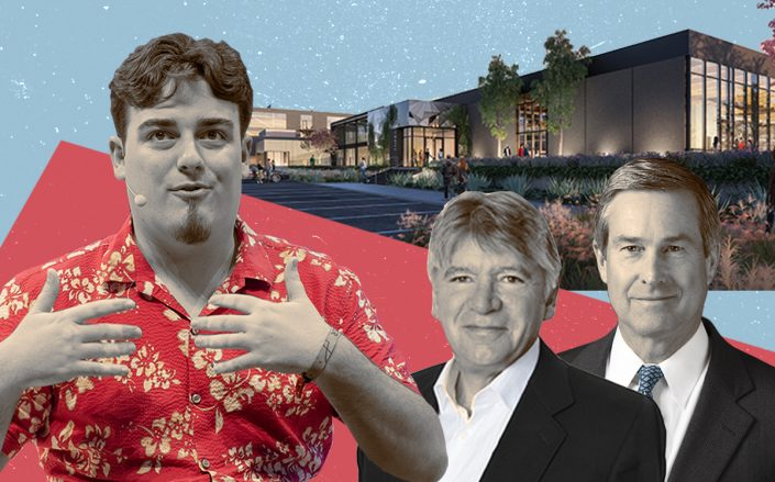 Anduril's Palmer Luckey, SteelWave CEO Barry DiRaimondo and Invesco Real Estate CEO R. Scott Dennis with a rendering of the property (Getty, Steelwave)