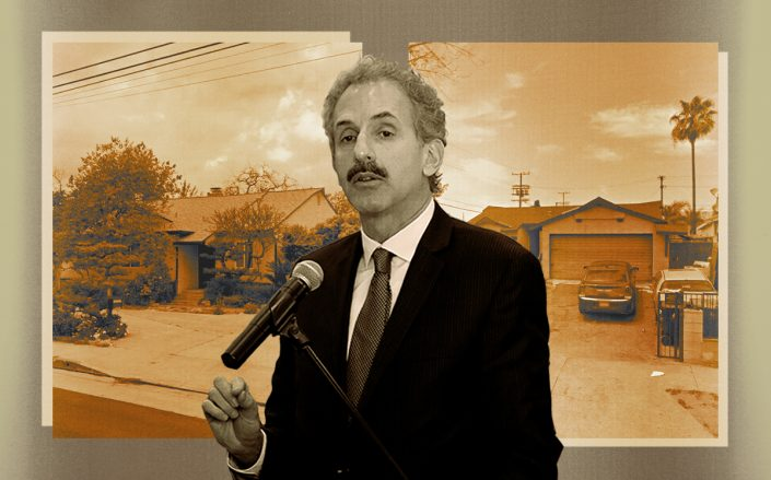Mike Feuer with 14697 Plummer Street in Panorama City and 13285 Corcoran Street in Pacoima (Getty, Google Maps, iStock)