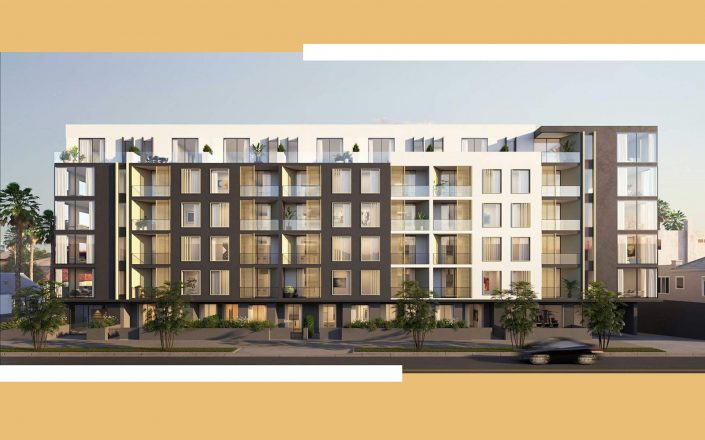 A rendering of the 88-unit apartment complex in Koreatown (Rendering via Kevin Tsai Architecture)