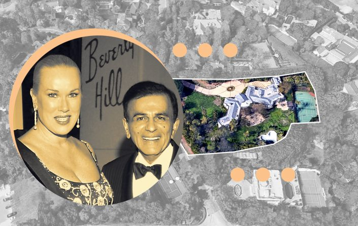 Casey and Jean Kasem and an aerial of the Beverly Crest mansion at 138 N Mapleton Dr (Photos via Getty, Google Maps)