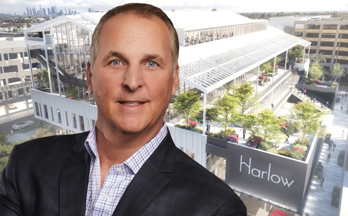 Hudson Pacific Properties CEO Victor Coleman with his LA office building The Harlow. (Hudson Pacific)