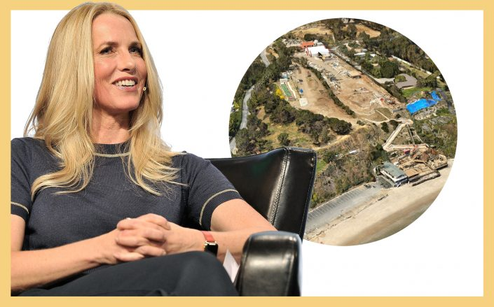 Laurene Powell Jobs and an aerial of the assemblage (Getty; Google Maps)