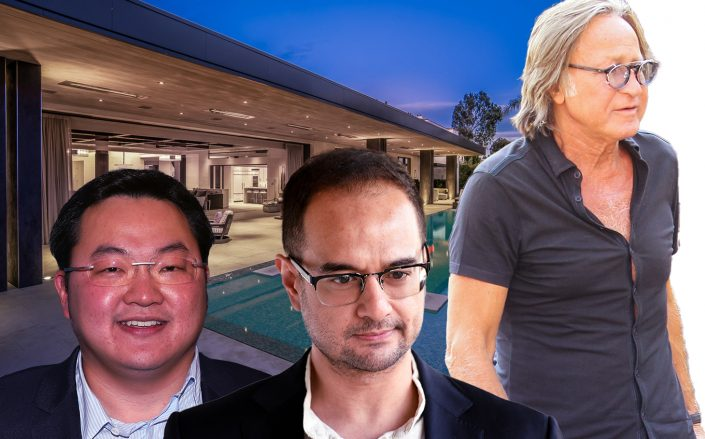 Jho Low, Riza Aziz and Mohamed Hadid with the Trousdale Estates mansion (Photos via Getty, Redfin)