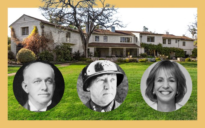 The Seeley Mudd estate with Henry Huntington, General George Patton and USC president Carol Folt (Photos via Douglas Elliman, Wikipedia Commons, Getty, USC)