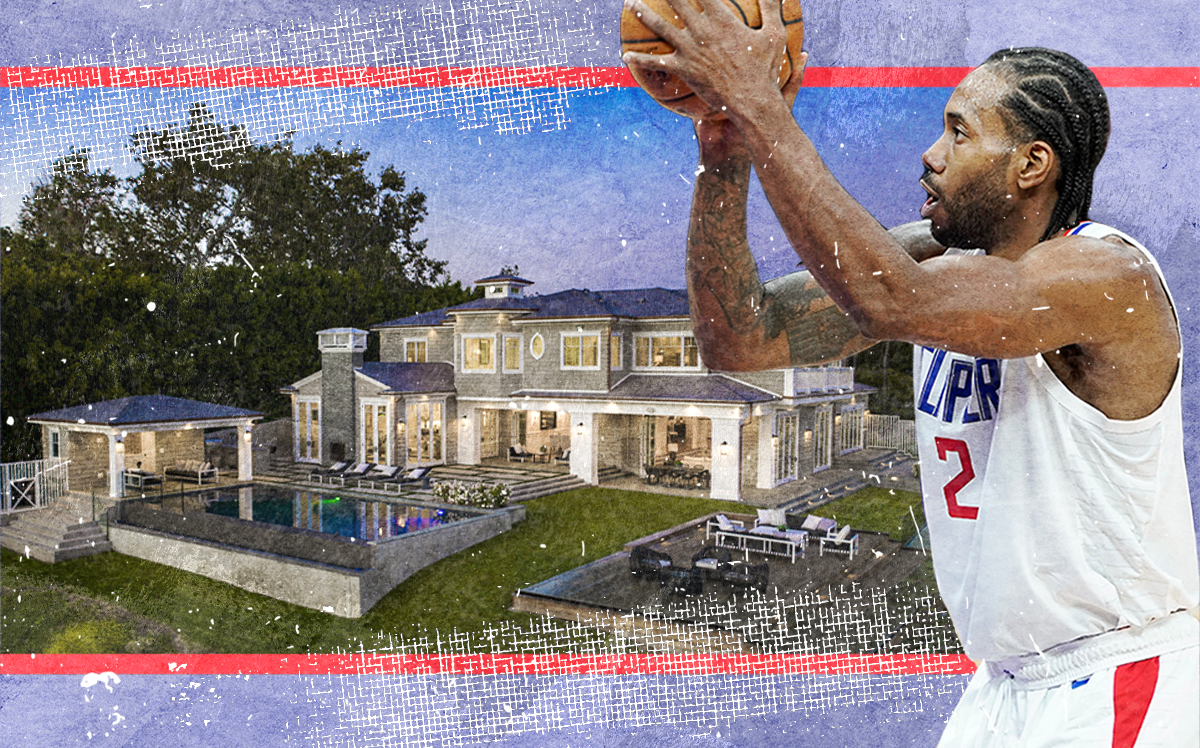 Kawhi Leonard and his Pacific Palisades (Getty, Redfin, iStock)