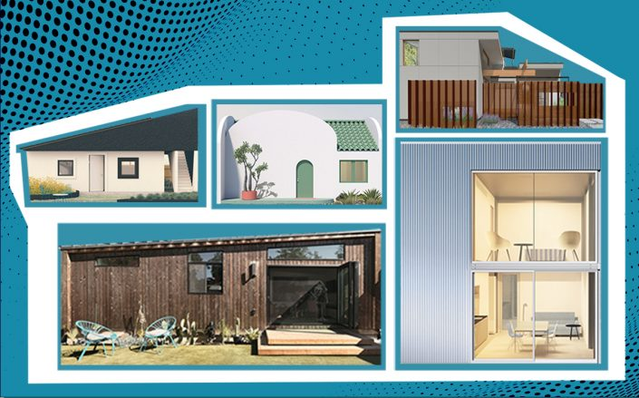 Collage of the pre-approved ADU designs (LA Department of Building and Safety)