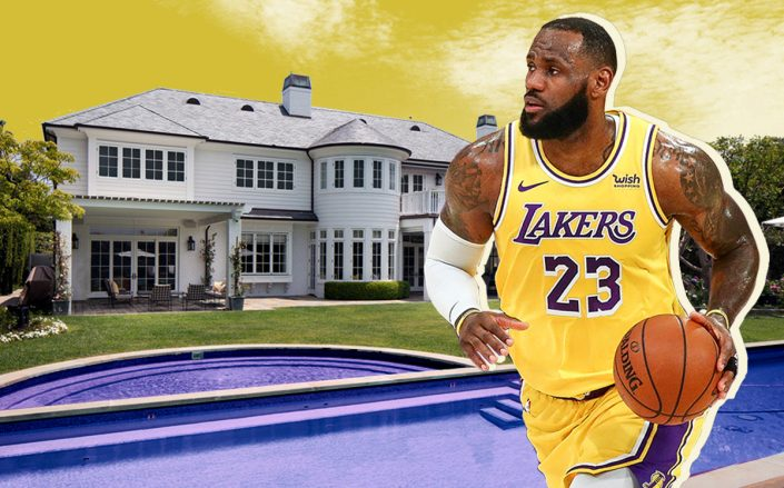 Lebron James and his Brentwood home (Getty, Redfin)