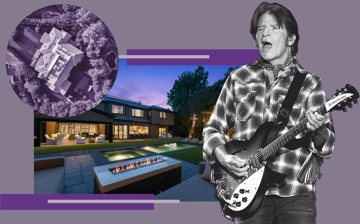 John Fogerty and his Encino home (Getty, Redfin)
