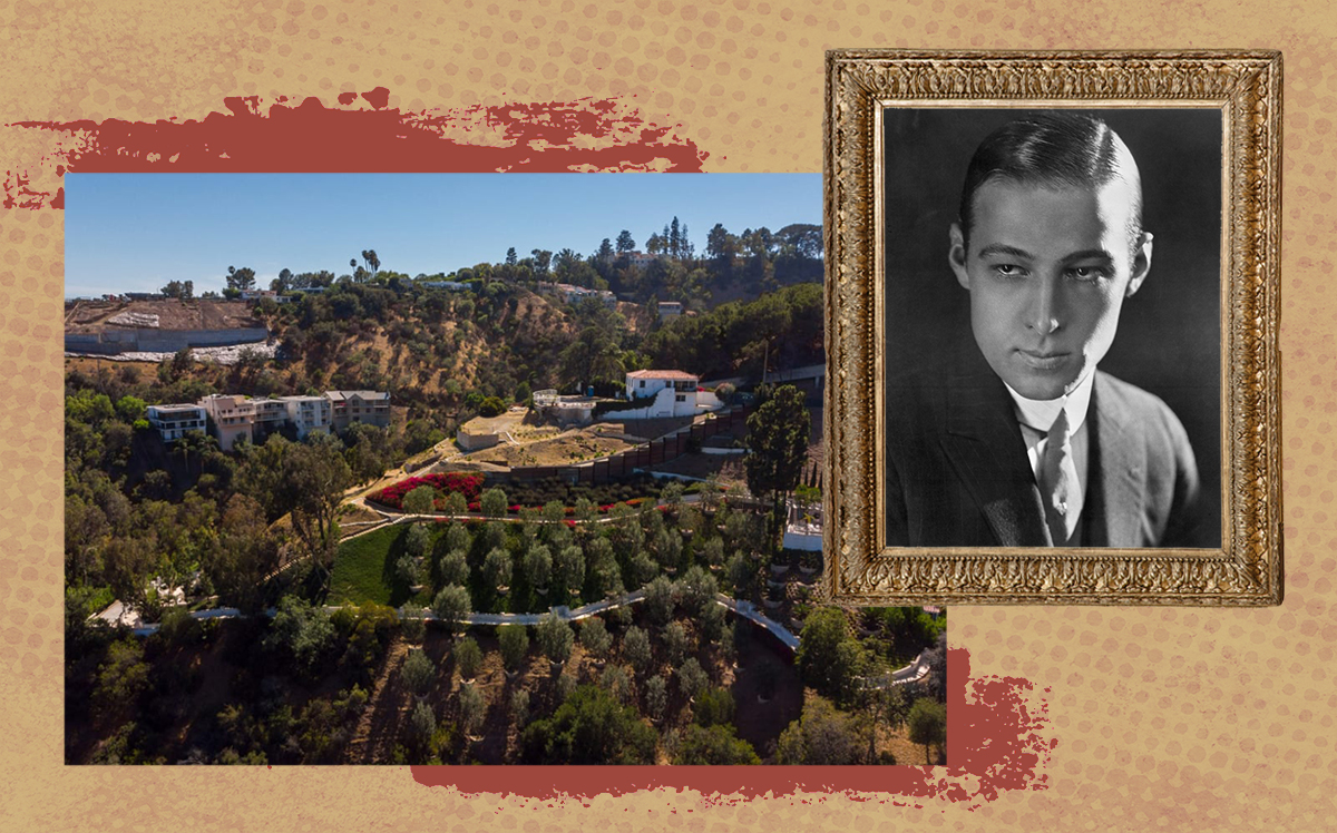 Rudolph Valentino and his former estate, Falcon Lair (Getty, Hilton & Hyland)