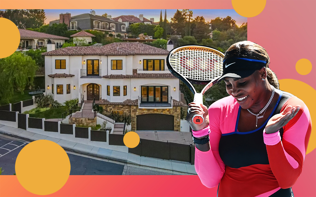 Serena Williams and her Beverly Hills home (Getty, Redfin, iStock)