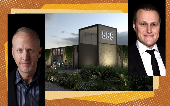 A rendering of 555 Aviation Boulevard with Belkin CEO Chet Pipkin and Tishman Speyer CEO Rob Speyer (Lake Tahoe Community College, 555 Aviation and Getty)