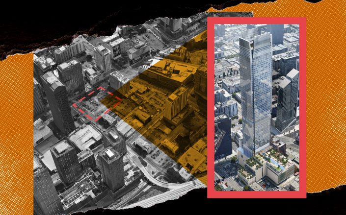 Rendering of Figueroa Centre (right) with an aerial view of the vacant site at 911-927 South Figueroa Street (Google Maps, CallisonRTKL/Illustration by Kevin Rebong for The Real Deal)
