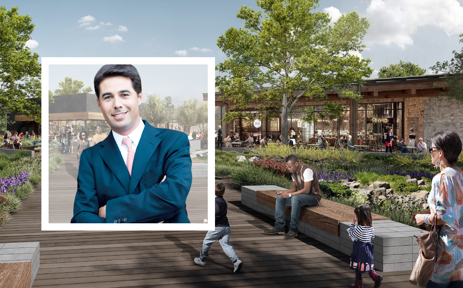 Related Fund Mangement's Managing Principal Justin E. Metz and a rendering of Cross Creek Ranch. (Jay Luchs, Related)