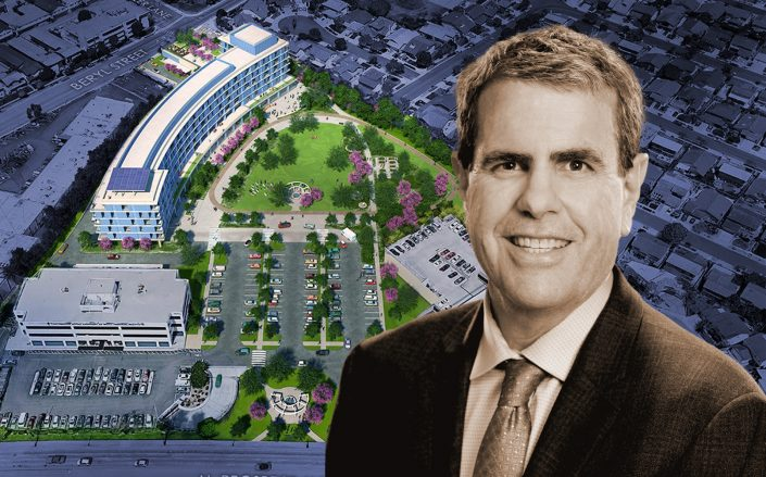 Beach Cities Health District CEO Tom Bakaly and renderings of the Redondo Beach campus. (BCHD)